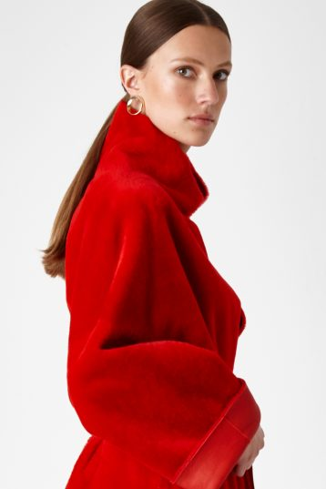 shearling mac coat - women | Gushlow & Cole - CXMAM6-RED