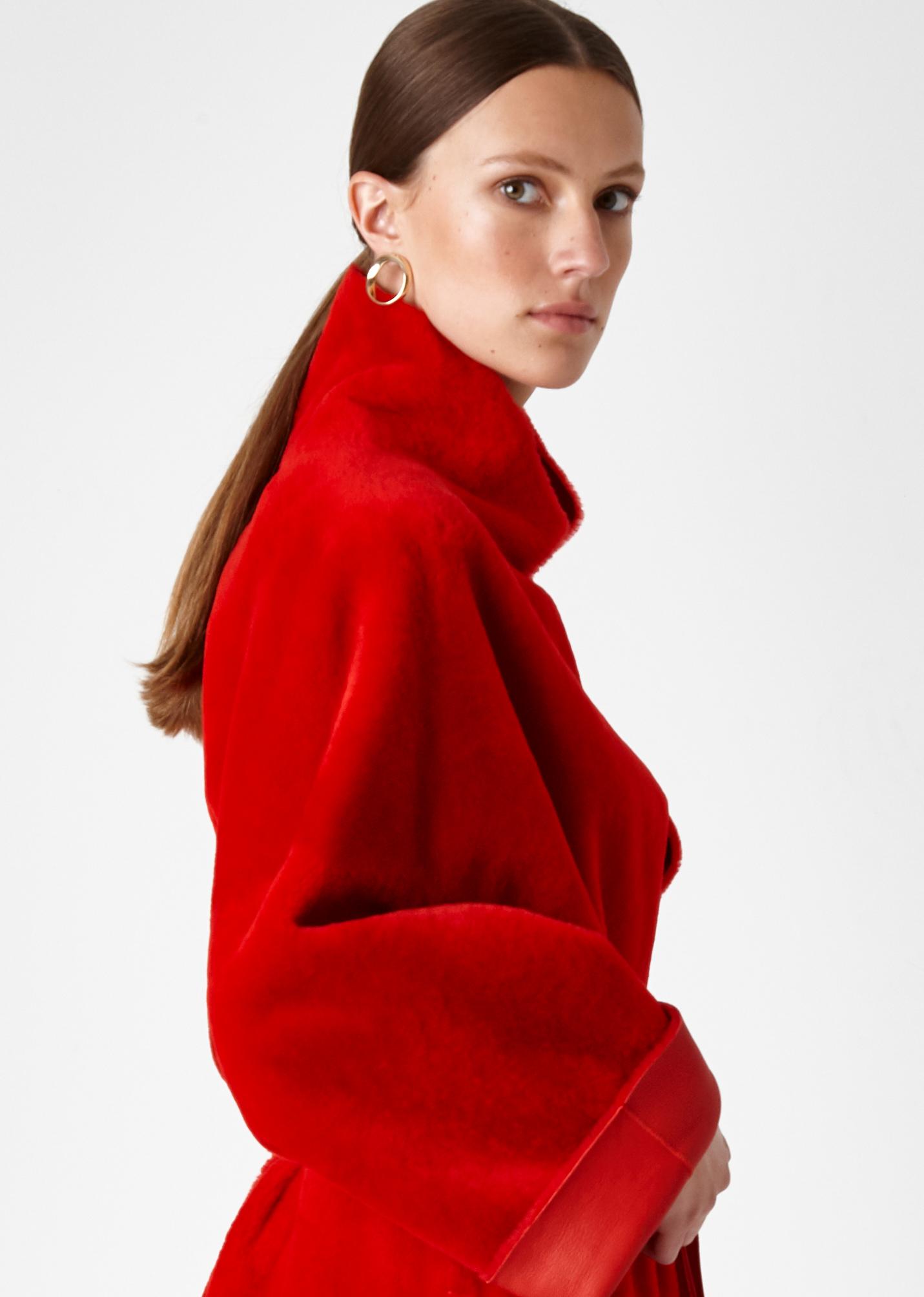 shearling mac coat - women | Gushlow & Cole - CXMAM6-RED