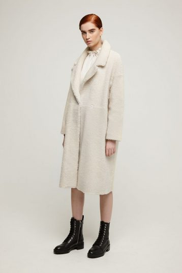 Notch Collar Shearling Coat in White | Women | Gushlow & Cole model