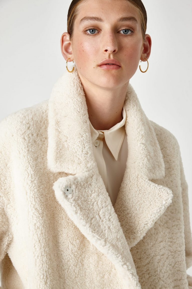 Notch Collar Shearling Coat in White | Women | Gushlow & Cole 1