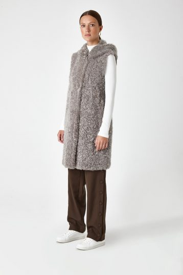 Hooded Down Back Shearling Gilet Grey