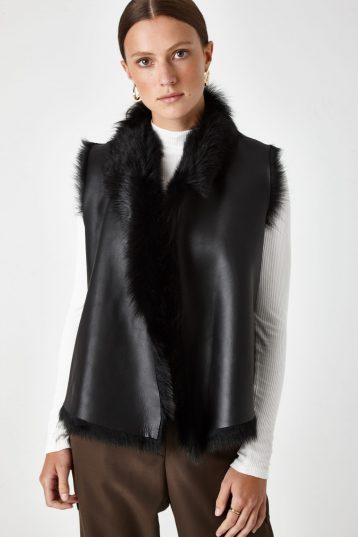 Shearling Rough Cut Gilet - women | Gushlow & Cole - GRCTX-BLK