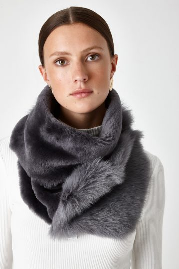 shearling baby mixed texture scarf