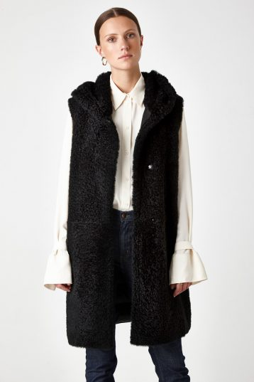Hooded Down Back Shearling Gilet