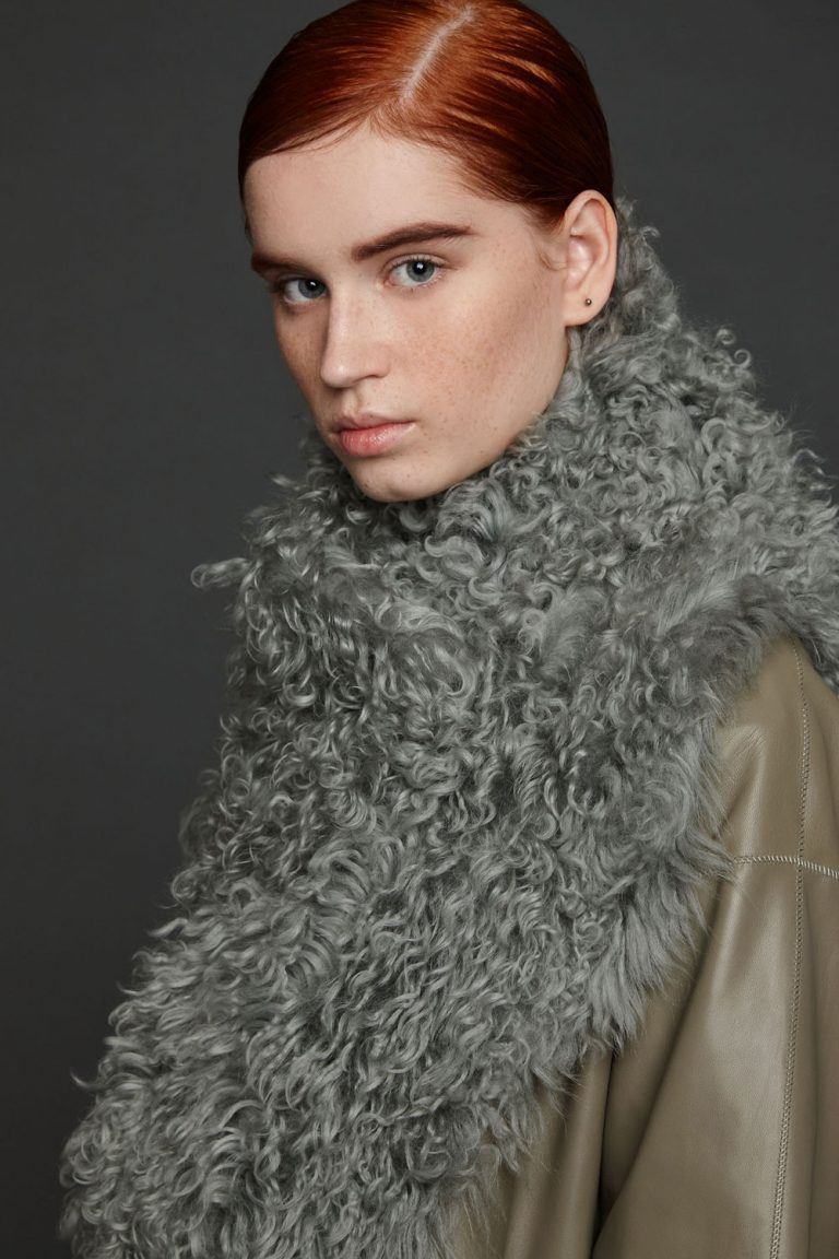 shearling snood scarf