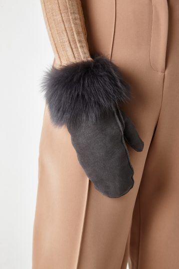 full palm shearling mittens