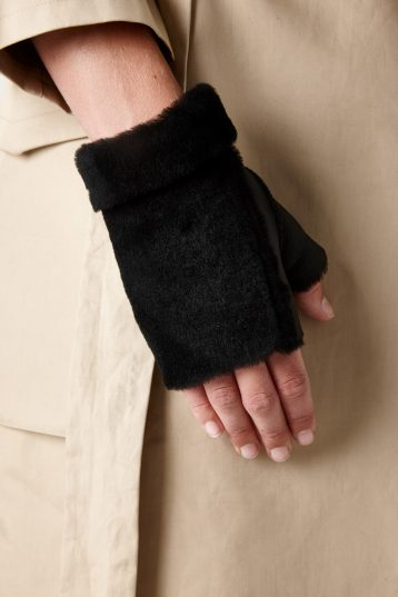 shearling mittens black