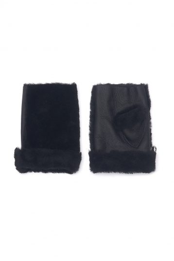 Mini Shearling Mittens in Black | Women | Gushlow & Cole