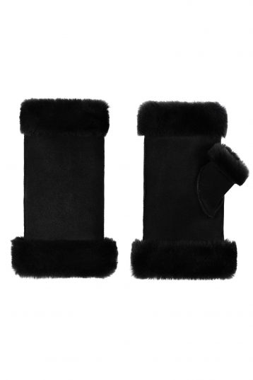 fingerless shearling mittens
