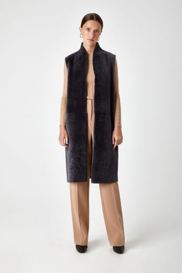 long shearling gilet