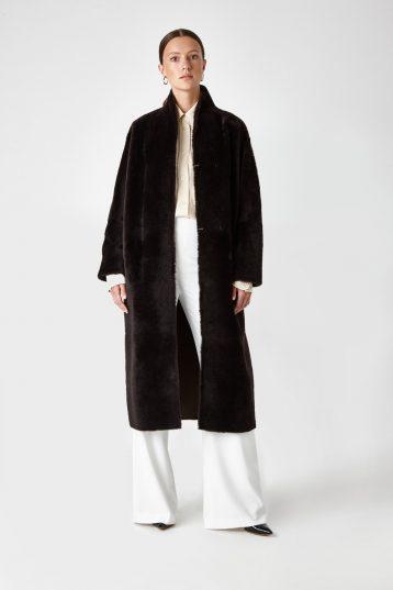 long shearling coat | gushlow and cole