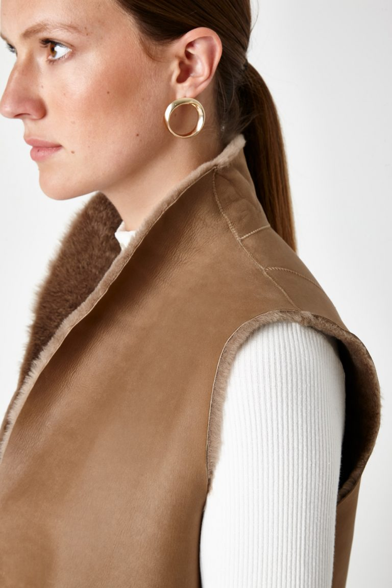 Stand Collar Shearling Gilet