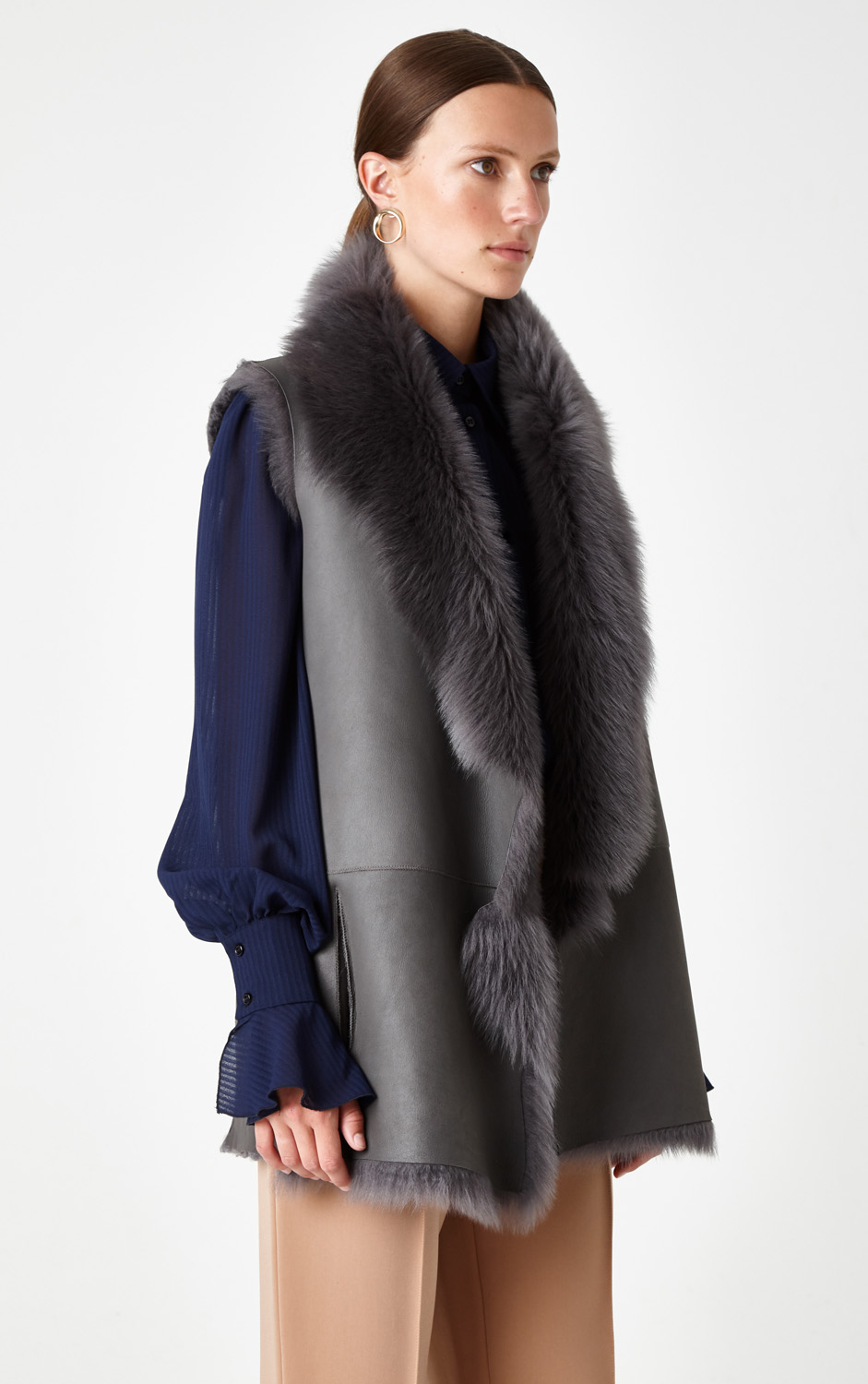 Mixed Texture Shearling Gilet in Grey | Women | Gushlow & Cole 5
