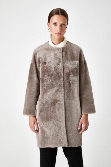 Neat Collarless Shearling Coat