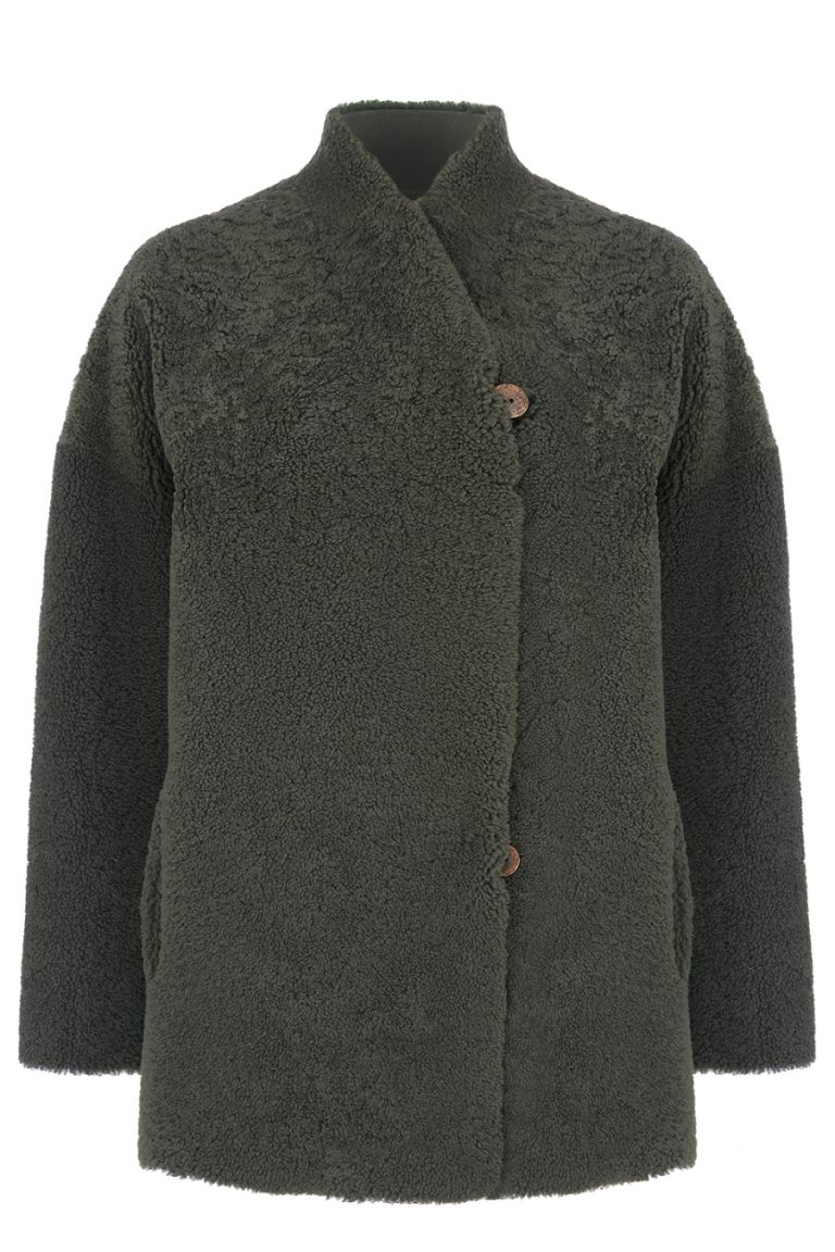 Shearling Cocoon Coat in Dark Green | Women | Gushlow & Cole 1