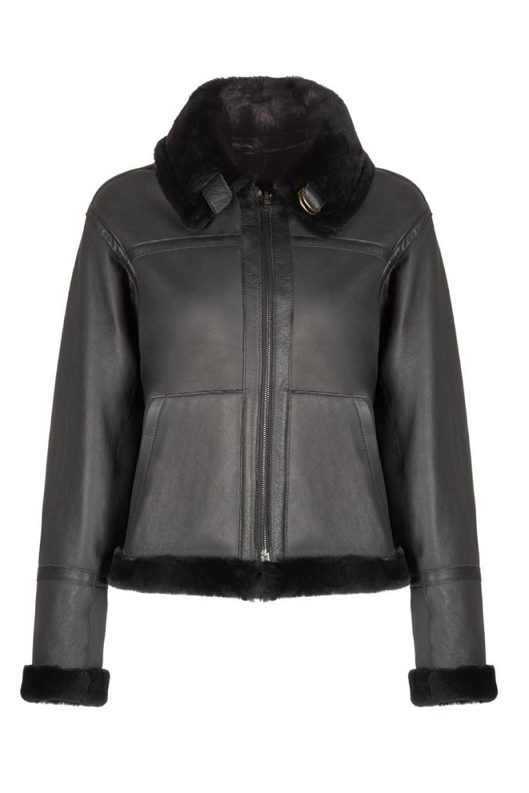 Shearling Aviator Jacket in Black | Women | Gushlow & Cole 2