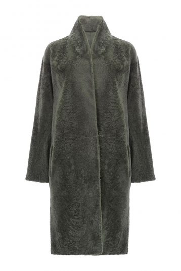 Stand Collar Shearling Coat in Khaki | Women | Gushlow & Cole 3