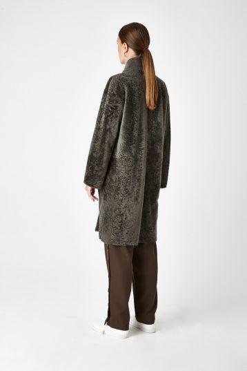 Stand Collar Shearling Coat in Khaki | Women | Gushlow & Cole 2