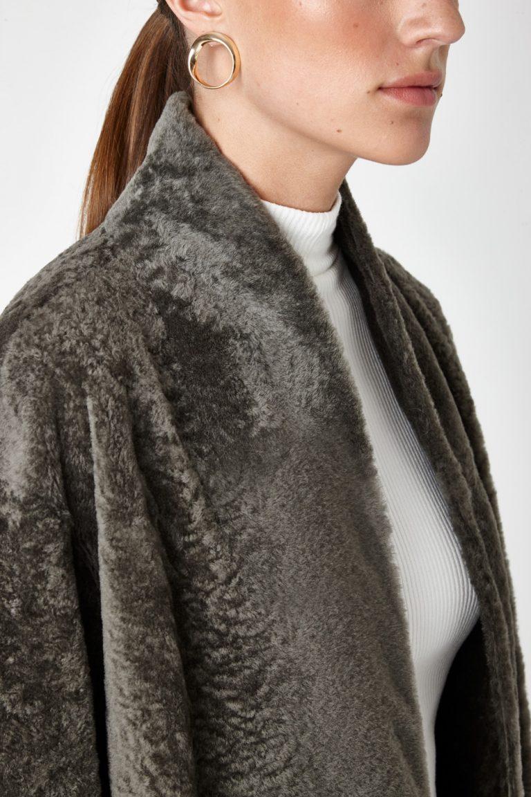 Stand Collar Shearling Coat in Khaki | Women | Gushlow & Cole 5