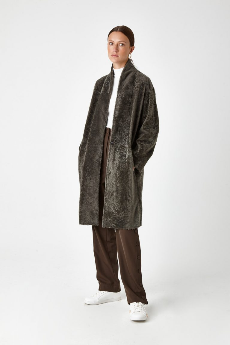 Stand Collar Shearling Coat in Khaki | Women | Gushlow & Cole 4