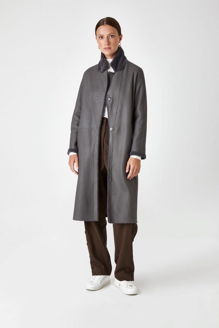 Shearling City Coat in Grey | Women | Gushlow & Cole 3