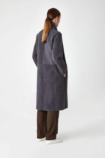 Shearling City Coat in Grey | Women | Gushlow & Cole 4