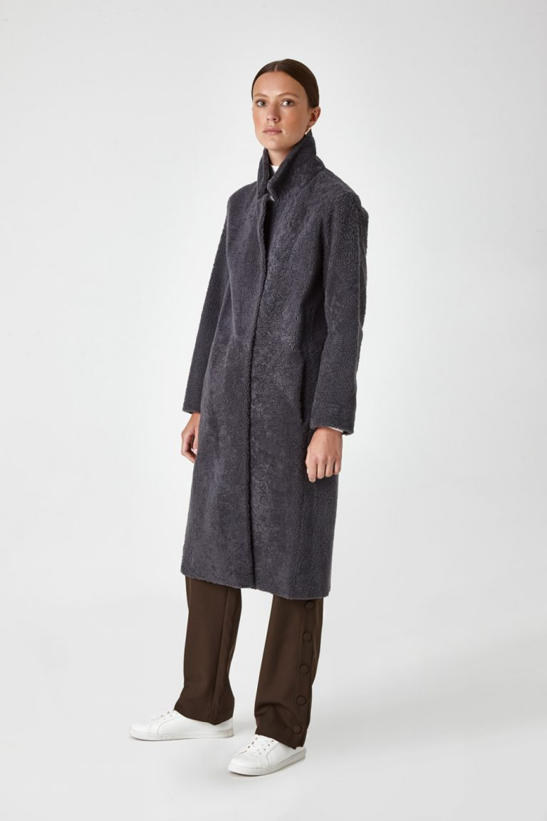 Shearling City Coat in Grey | Women | Gushlow & Cole 5