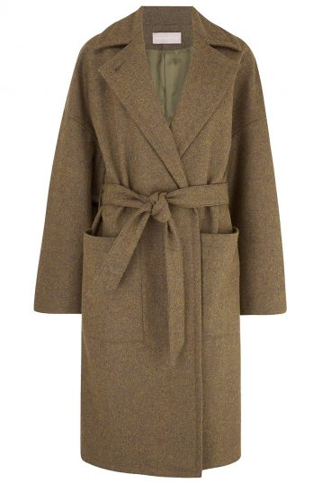 Double Breasted Wool Tweed Coat in Army Green | Women | Gushlow & Cole 4