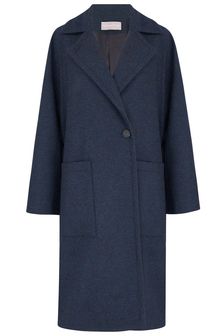 Double Breasted Wool Tweed Coat in Navy | Women | Gushlow & Cole 2