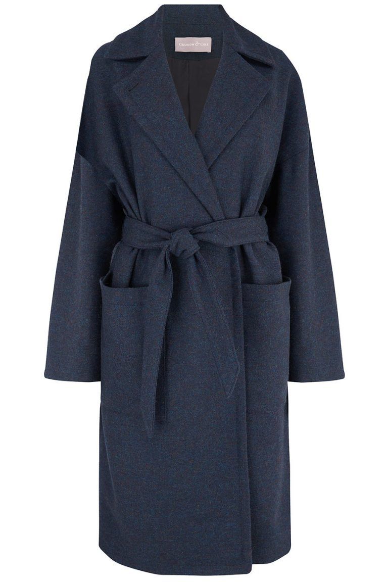 Double Breasted Wool Tweed Coat in Navy | Women | Gushlow & Cole 3