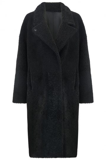 Notch Collar Black Shearling Over Coat | Women | Gushlow and Cole cut out