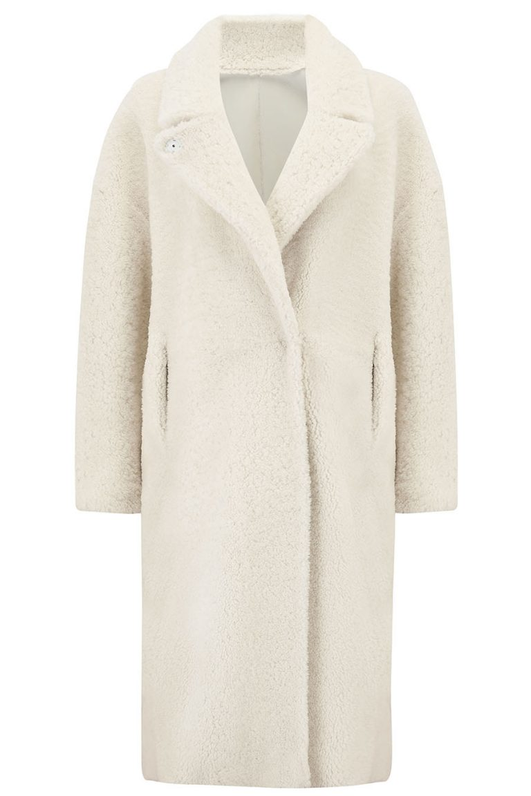 Notch Collar Shearling Coat in White | Women | Gushlow & Cole cut out