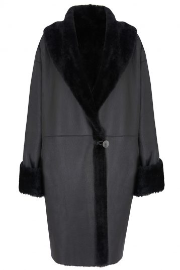 Oversized Shearling Shawl Coat in Black | Women | Gushlow & Cole 2