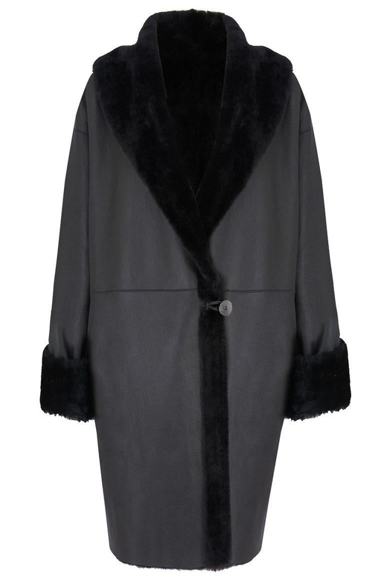 Oversized Shearling Shawl Coat in Black | Women | Gushlow & Cole 2