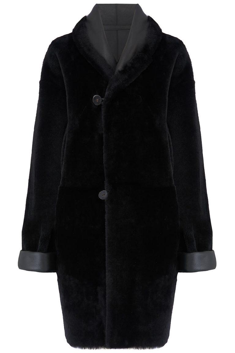 Oversized Shearling Shawl Coat in Black | Women | Gushlow & Cole 1