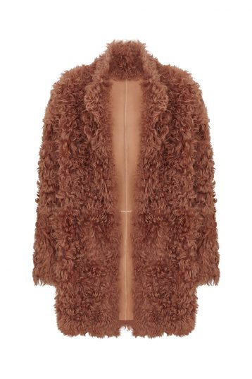 curly-shearling-coat-orange | Women | Gushlow & Cole model 1
