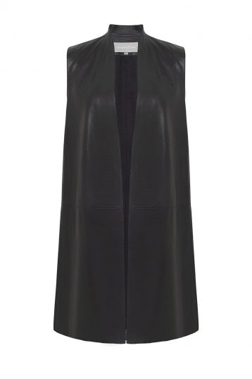 Stand Collar Leather Gilet in Black | Women | Gushlow & Cole 2