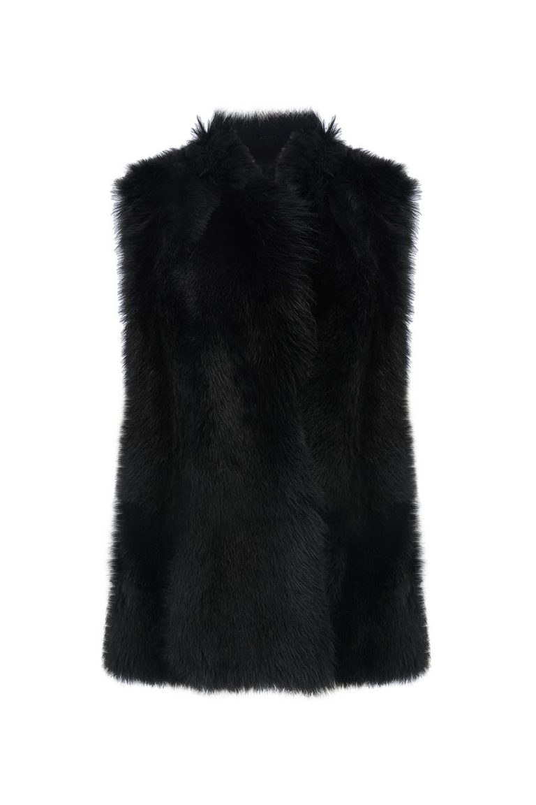 Shearling Rough Cut Gilet in black