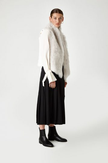 Shearling and Down Gilet in White | Women | Gushlow & Cole 3
