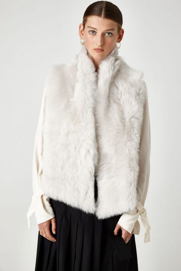 Shearling and Down Gilet in White | Women | Gushlow & Cole 1
