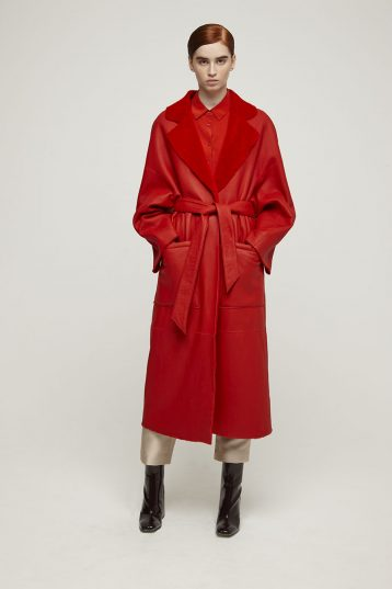 Long Shearling Mac Coat in Red | Women | Gushlow & Cole
