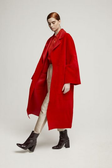 Long Shearling Mac Coat in Red | Women | Gushlow & Cole 2