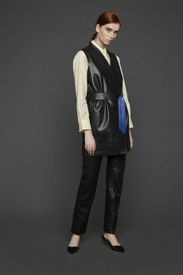 Stand Collar Leather Gilet in Black | Women | Gushlow & Cole 1