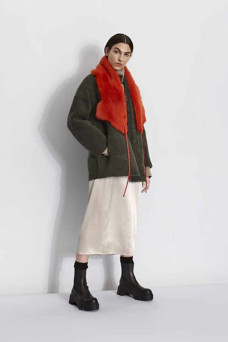 Shearling Shawl Scarf in Furnace Orange | Women | Gushlow & Cole model