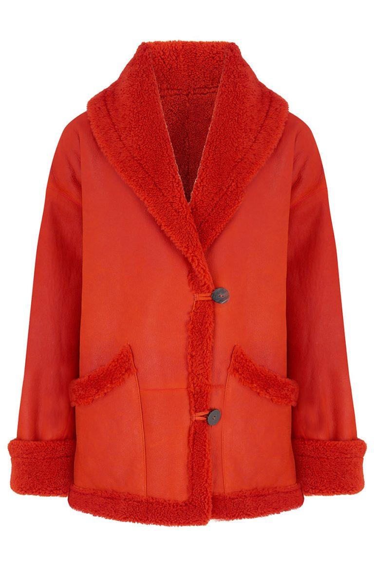 Oversized Shearling Aviator Jacket in Furnace Orange | Women | Gushlow & Cole 4