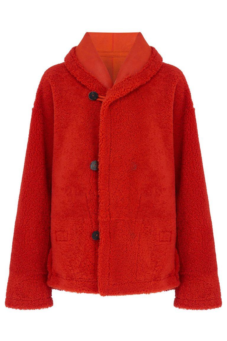 Oversized Shearling Aviator Jacket in Furnace Orange | Women | Gushlow & Cole 3