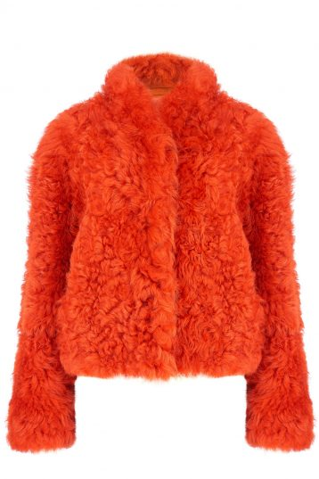 Cropped Shearling Jacket in Furnace Orange | Women | Gushlow & Cole 4