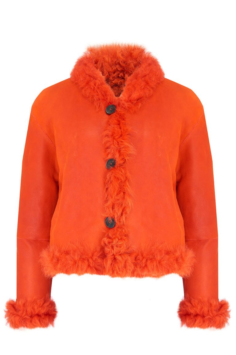 Cropped Shearling Jacket in Furnace Orange | Women | Gushlow & Cole 2