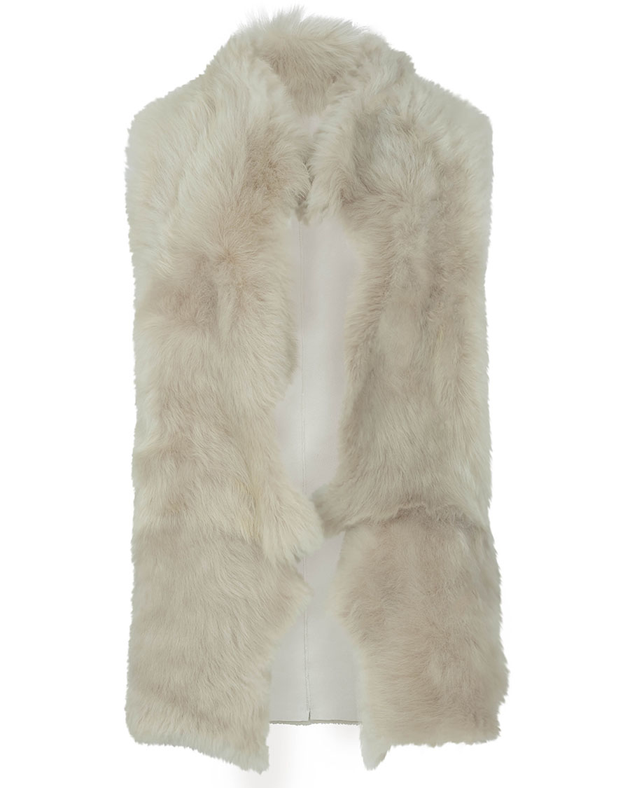 Mixed Texture Shearling Gilet in White | Women | Gushlow & Cole 3