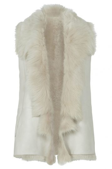Mixed Texture Shearling Gilet in White | Women | Gushlow & Cole 2
